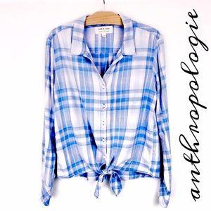 Anthropologie Cloth & Stone Plaid Tie Pink Blue